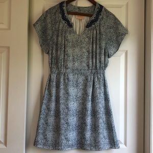 Navy Blue & White Embroidered Neckline Dress Sz S